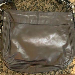 Coach Bags - COACH Zoe Gunmetal Metallic Leather Purse F14707